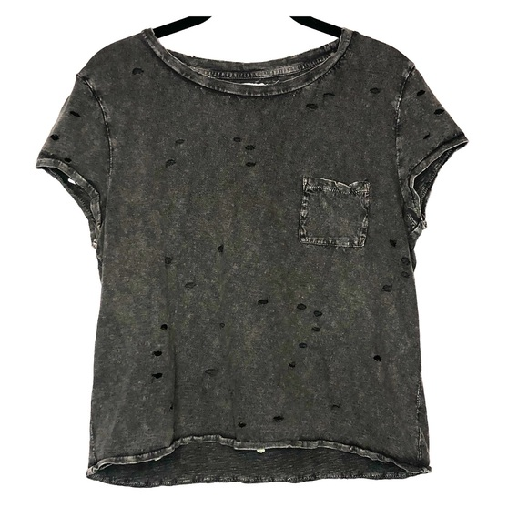 American Eagle Outfitters Tops - American Eagle Distressed Destroyed Crop Tee S